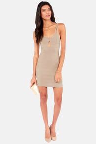 Girl on Fire Beige Bodycon Dress at Lulus.com!