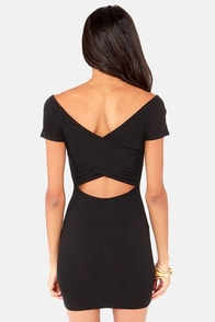 Show Off-the-Shoulder Cutout Black Dress at Lulus.com!