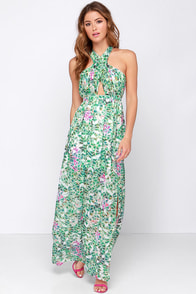 Lovers + Friends Flash Back Green Print Maxi Dress at Lulus.com!