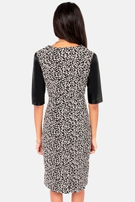 Faux Leather Young Beige and Black Jacquard Dress at Lulus.com!