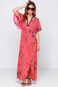 Amuse Society Next Level Coral Red Tie Dye Maxi Dress at Lulus.com!