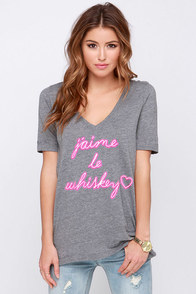 Chaser I Love Whiskey Grey V Neck Tee at Lulus.com!