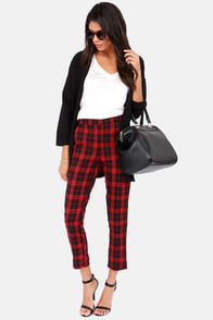 You Plaid Me at Hello Cropped Black and Red Plaid Pants at Lulus.com!