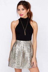 Boucle It On Me Gold Skirt at Lulus.com!