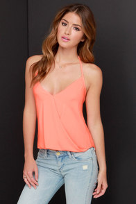 Maui Are Young Bright Coral Halter Top at Lulus.com!