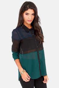 Olive & Oak Trio Service Navy, Black, and Teal Top at Lulus.com!