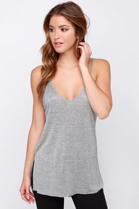 Will You V Mine? Heather Grey Tank Top at Lulus.com!