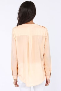 Olive & Oak Collarless is More Blush Button-Up Top at Lulus.com!