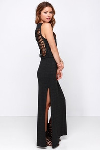 Chaser Knot Back Heather Black Maxi Dress at Lulus.com!