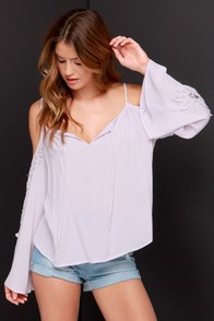 Woodstock Darling Pale Lavender Lace Top at Lulus.com!