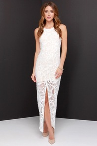 No Lace I'd Rather Be Ivory Lace Maxi Dress at Lulus.com!