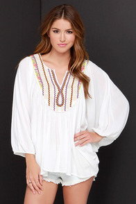 Suddenly I Gypsy Ivory Embroidered Top at Lulus.com!