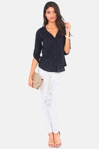 Forest View Embroidered Navy Blue Top at Lulus.com!