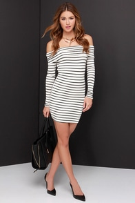 Along Those Lines Black and Ivory Striped Off-the-Shoulder Dress at Lulus.com!
