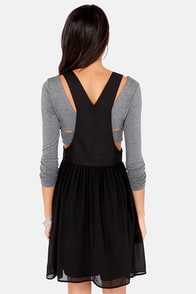 It's Not Over Till It's Overall Black Overall Dress at Lulus.com!