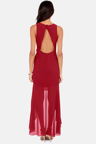 Night and Sway Wine Red High-Low Dress at Lulus.com!