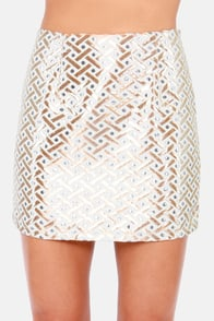 Weave-ening Attire Cream and Gold Brocade Mini Skirt at Lulus.com!