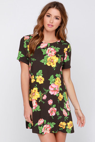 Somedays Lovin' The Seeker Black Floral Print Shift Dress at Lulus.com!