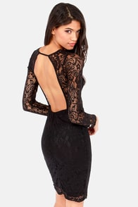 Signed, Sealed, Delivered Backless Black Lace Dress at Lulus.com!