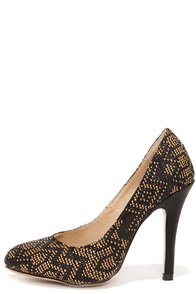Weave to Chance Black and Tan Woven Pumps at Lulus.com!