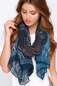 Paisley to Know Navy Blue Paisley Print Scarf at Lulus.com!