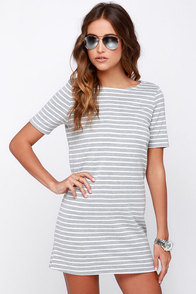 Law Bender Ivory and Grey Striped Dress at Lulus.com!