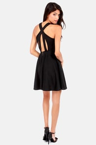 Crisscross The Line Black Dress at Lulus.com!