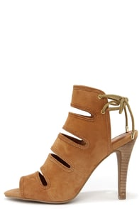 Seychelles Play Along Tan Suede Lace-Back Shootie Heels at Lulus.com!