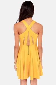Crisscross The Line Yellow Dress at Lulus.com!
