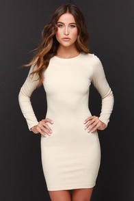 Holy Grail Beige Long Sleeve Dress at Lulus.com!