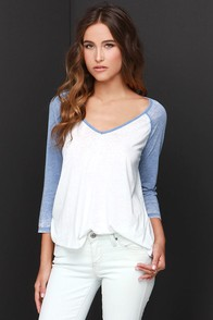 Billabong Essential Blue and Ivory Top at Lulus.com!