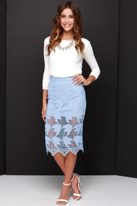 JOA Elegant Hardly Wait Powder Blue Lace Midi Skirt at Lulus.com!