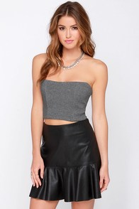 Fierce Competitor Grey Strapless Bustier Top at Lulus.com!