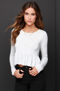 Ruffle of Surprises Heather Grey Long Sleeve Crop Top at Lulus.com!
