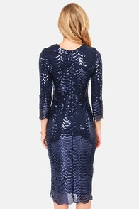 TFNC Paris Navy Blue Midi Sequin Dress at Lulus.com!