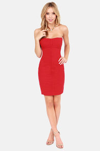 LULUS Exclusive On the Fun Strapless Red Dress at Lulus.com!