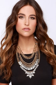 Queen Cut Gold Rhinestone Statement Necklace at Lulus.com!