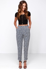 Jogger Memory Beige and Blue Print Pants at Lulus.com!