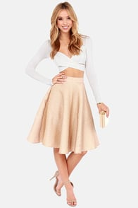 Shimmer of Hope Taupe and Gold Skirt at Lulus.com!