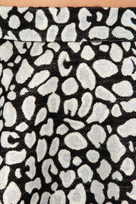 Leopard-y Animal Silver and Black Brocade Skirt at Lulus.com!