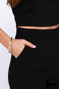 Three's a Crowd-pleaser Gold Rhinestone Bangle Set at Lulus.com!