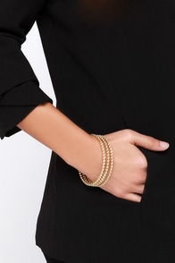 Wrist Assured Gold Rhinestone Bangle Set at Lulus.com!