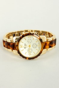 Keep Time Tortoise and Gold Watch at Lulus.com!
