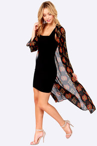 Feeling Inspired Black Print Kimono Top at Lulus.com!