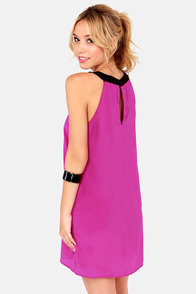 Stitch In Embroidered Magenta Shift Dress at Lulus.com!