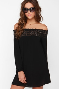 Show You Off Black Off-the-Shoulder Dress at Lulus.com!
