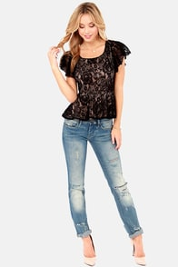 LULUS Exclusive A Lace of Our Own Black Lace Top at Lulus.com!