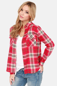 Not Half Plaid Beige and Red Plaid Flannel Top at Lulus.com!