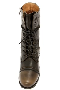 Wild Diva Lounge Jetta 36 Black Burnished Combat Boots at Lulus.com!