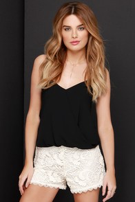 Black Swan Society Cream Lace Shorts at Lulus.com!